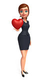 Young office girl with heart Royalty Free Stock Photos