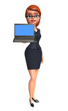 Young office girl with laptop Stock Photo