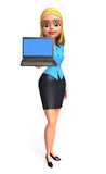 Young office girl with laptop Royalty Free Stock Images