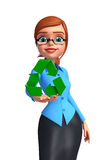 Young office girl with recycle icon Royalty Free Stock Photography