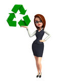 Young office girl with recycle sign Royalty Free Stock Photos
