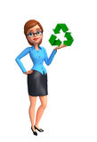 Young office girl with recycle sign Royalty Free Stock Images