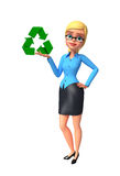 Young office girl with recycle sign Stock Images