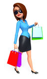 Young Office Girl with shopping bags Royalty Free Stock Photo
