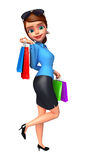 Young Office Girl with shopping bags Royalty Free Stock Photography