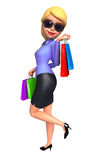 Young Office Girl with shopping bags Stock Photography