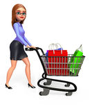 Young Office girl with shopping bags and trolley Stock Photos