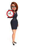 Young office girl with table clock Royalty Free Stock Images