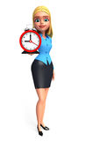 Young office girl with table clock Royalty Free Stock Photos