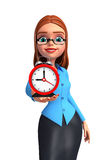 Young office girl with table clock Stock Image