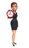 Young office girl with table clock Royalty Free Stock Photo