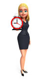Young office girl with table clock Stock Photos