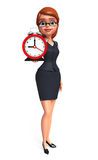 Young office girl with table clock Stock Images