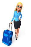 Young Office Girl  with traveling bag Royalty Free Stock Photos