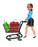 Young Office Girl with trolley and shopping bags Royalty Free Stock Photography