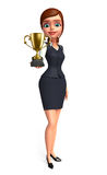 Young office girl with trophy Stock Photo
