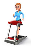 Young office girl with walking machine Stock Photo