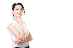Young office woman business portrait on white background royalty free stock photography