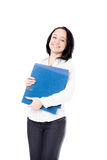 Young office woman with document folders on white background Royalty Free Stock Photos