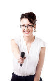 Young office woman interviewer with microphone on white backgrou. Presentation, speech conference, interview, beautiful young businesswoman, reporter holding stock image
