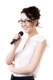 Young office woman with microphone on white background Stock Photos