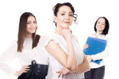 Young office women on white background. Women career, getting promoted, office staff, team of successful confident young females friendly smiling, isolated royalty free stock images
