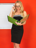 Young Office Worker Holding Businness Files Looking Frustrated. A DSLR royalty free image, of attractive young business woman, with long blonde hair, standing Stock Photos