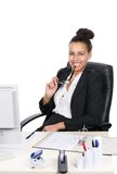 Young office worker holds her glasses Royalty Free Stock Images