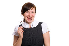 Young office worker portrait, happy and positive Royalty Free Stock Photos