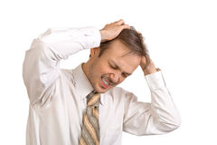 Young office worker suffers from stress Royalty Free Stock Photos
