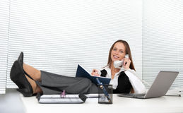 Young office worker talking on phone Stock Image