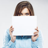 Young office worker woman hiding face behind  bann Royalty Free Stock Photo