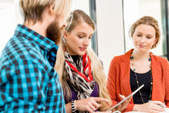 Young office workers discussing stock image