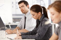 Young office workers having business training royalty free stock photography