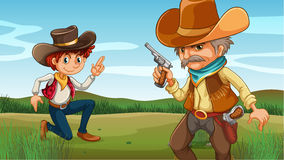 A young and an old cowboy at the hill. Illustration of a young and an old cowboy at the hill Royalty Free Stock Images