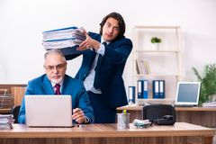 The young and old employees working together in the office royalty free stock photos