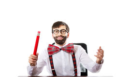 Young old fashioned man with big pencil. Stock Photos