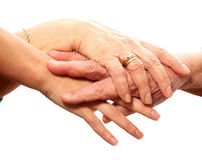 Young and old hands. A picture of young and old hands against white background royalty free stock images