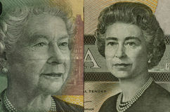 Young and old queen. Elizabeth II on new and old Canandian twenty dollar bills Royalty Free Stock Image