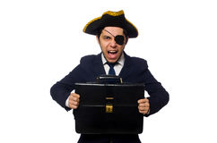 Young one eyed captain with briefcase isolated on Royalty Free Stock Image