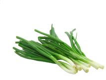 Young onion on white background . Isolated stock photo