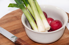 Young onions and chopped radishes in the white bowl.  Royalty Free Stock Photos