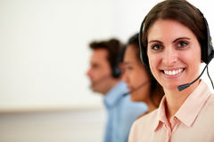 Young operator woman smiling at you Stock Photo
