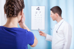 Young ophthalmologist performs eye examination Royalty Free Stock Images
