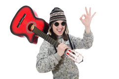 Young optimistic girl holding guitar isolated on Stock Photography