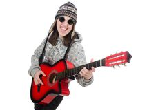 Young optimistic girl holding guitar isolated on Royalty Free Stock Images