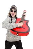 Young optimistic girl holding guitar isolated on Stock Image