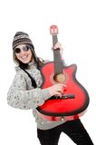 Young optimistic girl holding guitar isolated on Royalty Free Stock Photo