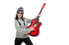Young optimistic girl holding guitar isolated on Stock Photo
