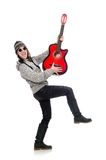 Young optimistic girl holding guitar isolated on Royalty Free Stock Photography